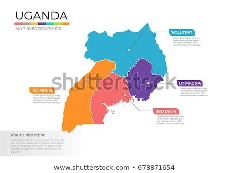 Gomb szimbólum térkép Uganda zászló fehér Stock fotó © mayboro1964