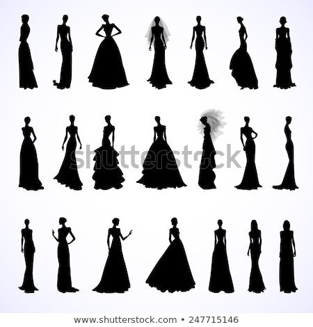 Stock photo: girl silhouette in a gown