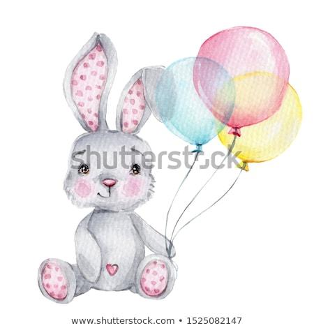 Cute mullido gris vacaciones conejo blanco Foto stock © wavebreak_media
