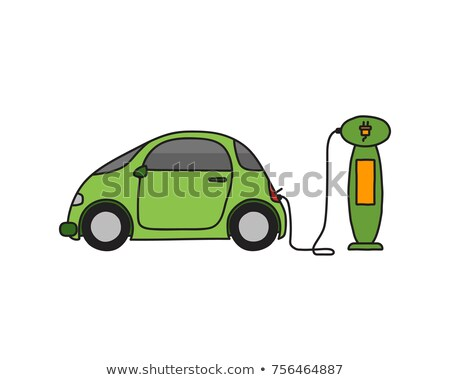 Gekleurd doodle elektrische auto geïsoleerd auto silhouet Stockfoto © netkov1