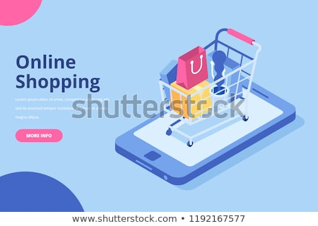 shopping cart blue vector icon design stock photo © rizwanali3d
