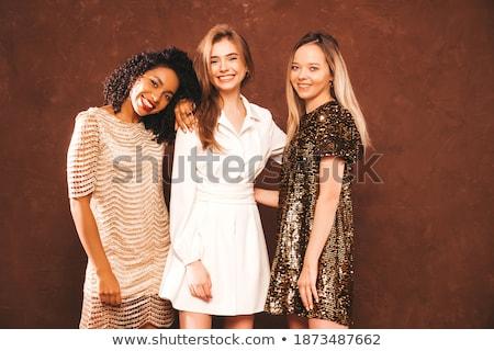три Sexy девочек позируют студию красивой Сток-фото © oleanderstudio