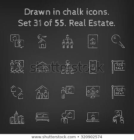 for rent placard icon drawn in chalk stock photo © rastudio