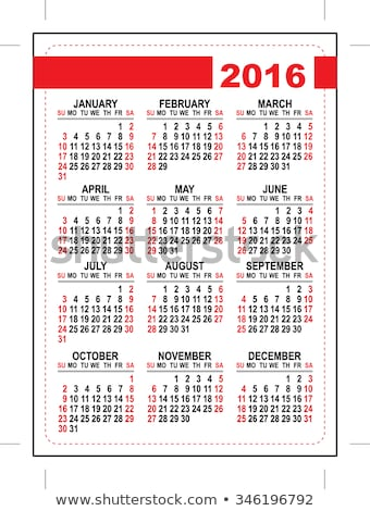 2016 pocket calendar template grid first day sunday stock photo © orensila