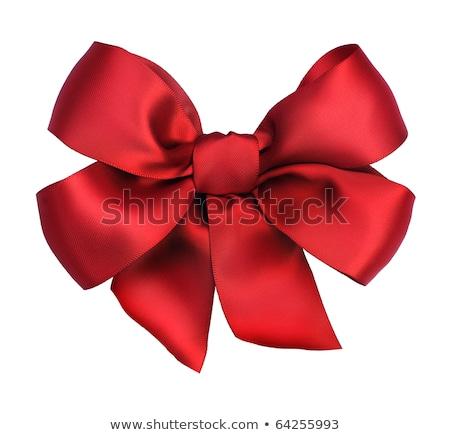 Stockfoto: Mooie · Rood · satijn · geschenk · boeg · geïsoleerd