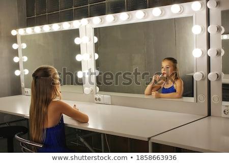 meisje · spiegel · portret · vrouw · witte · jurk · mode - stockfoto © victoria_andreas