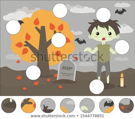 Baby zombie nagrobek ilustracja tle sztuki Zdjęcia stock © bluering