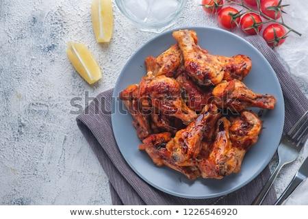 Kip stukken hete saus voedsel Rood vlees Stockfoto © Digifoodstock