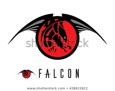 attacking black falcon with sharp big claw on the red circle tri Stock photo © HunterX
