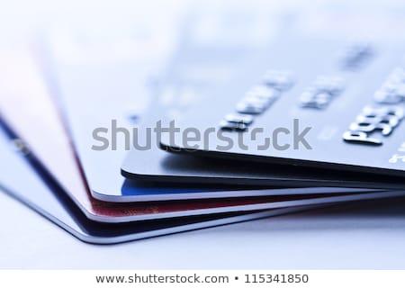 dívida · cartões · de · crédito · isolado · azul · lápis · financiar - foto stock © magann