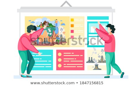 Environment theme poster design with working people Stock photo © bluering