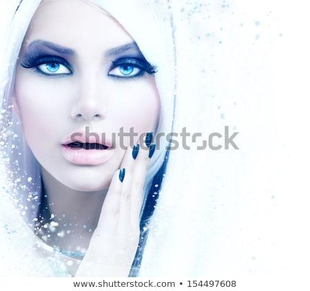 Közelkép portré tél királynő gyönyörű fiatal nő Stock fotó © svetography