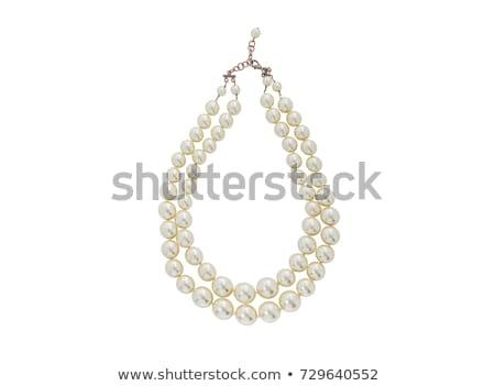 Donna perla collana isolato bianco faccia Foto d'archivio © Elnur