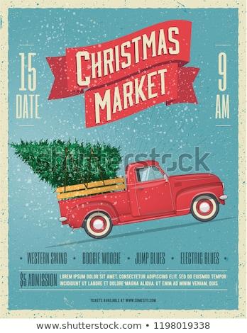 Karácsony retro eps 10 karácsonyfa ágak Stock fotó © beholdereye