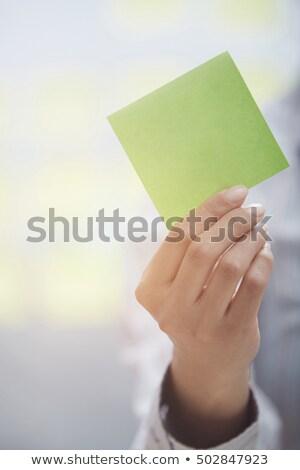 接着剤 注記 スペース 手 付箋 ストックフォト © Novic
