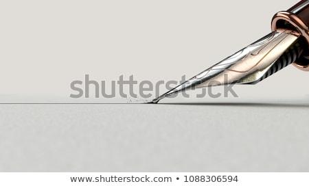 vulpen · geïsoleerd · zwarte · gouden · witte · papier - stockfoto © digifoodstock