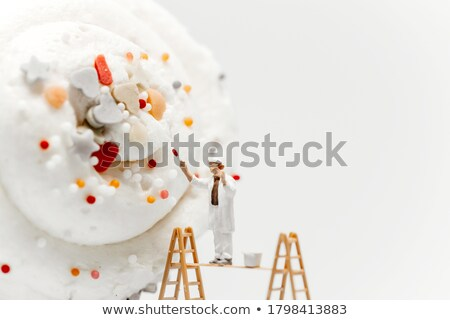 Miniature painter coloring painters coloring cupcake Stock photo © Kirill_M