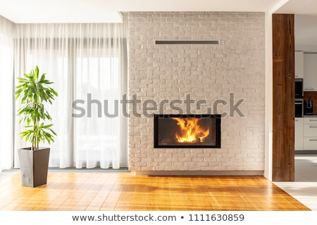 Room with fireplace and brick wall Stock photo © bluering