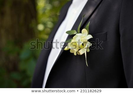 Jonge man smoking jas vest groene stropdas Stockfoto © feedough