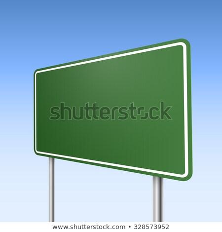 Foto stock: Grande · verde · direção · placa · sinalizadora · blue · sky · estrada