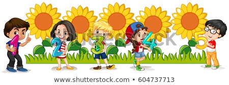 Counting numbers with happy children and sunflowers Stock photo © bluering