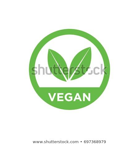 Veganistisch label cute cartoon wortel Stockfoto © zsooofija