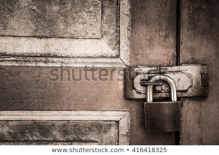 rozsdás · lakat · öreg · fából · készült · ajtó · ház - stock fotó © taigi