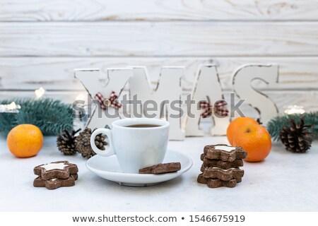 Aromatisch koffie mandarijn witte houten licht Stockfoto © Yatsenko