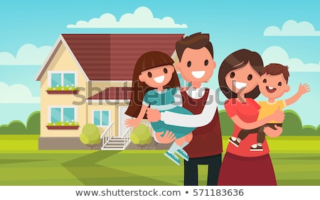 Vektor stílus illusztráció ház boldog család szülők Stock fotó © curiosity