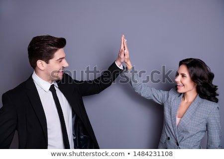 Business Man Woman Hand Giving High Five Isolated Stock photo © Qingwa