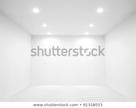 Stock photo: Photo Studio Room. Empty White Interior. Gallery Interior With Empty Wall And Lamps. Vector Illustra