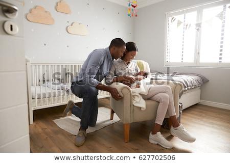 アフリカ系アメリカ人 · 少年 · ベッド · 肖像 · 笑みを浮かべて · 病院用ベッド - ストックフォト © lightfieldstudios