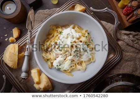 Parmezán sajt oregano három darabok friss fehér Stock fotó © Digifoodstock