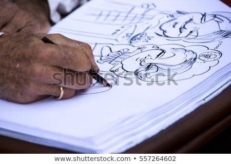 Rua pintor retrato de família papel cidade lápis Foto stock © stefanoventuri