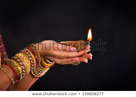 Stock photo: happy diwali background with burning crackers and sparkles