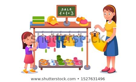 nő · dől · ruhaakasztó · butik · mosolygó · nő · üzlet - stock fotó © is2