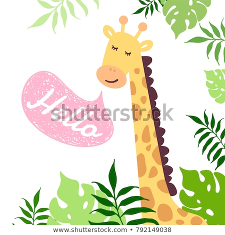 Aranyos zsiráf boldog mosoly illusztráció természet Stock fotó © bluering