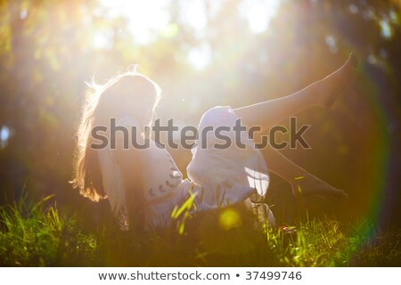 Woman lying backside on grass Stock photo © IS2