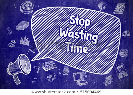 time to save money   doodle illustration on blue chalkboard stock photo © tashatuvango
