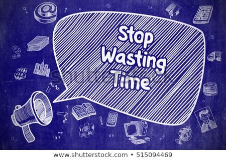 Idő megtakarítás firka illusztráció kék tábla Stock fotó © tashatuvango