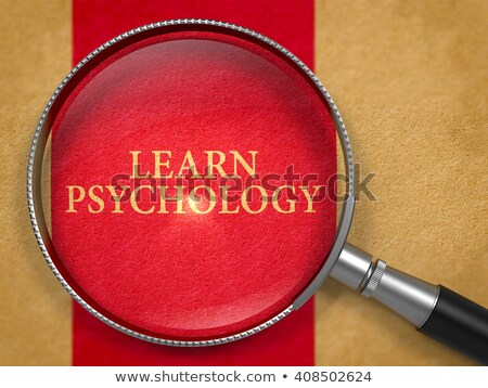 Tanul pszichológia nagyító régi papír sötét piros Stock fotó © tashatuvango