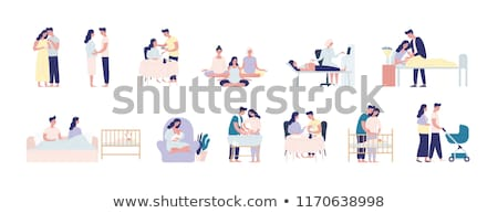 Father feeding baby vector illustration. Stock photo © RAStudio