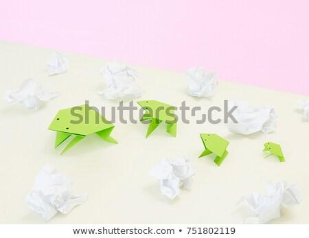 Origami papier kikker idee gevaar avontuur Stockfoto © IS2