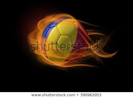 Football flammes pavillon Roumanie noir 3d illustration Photo stock © MikhailMishchenko