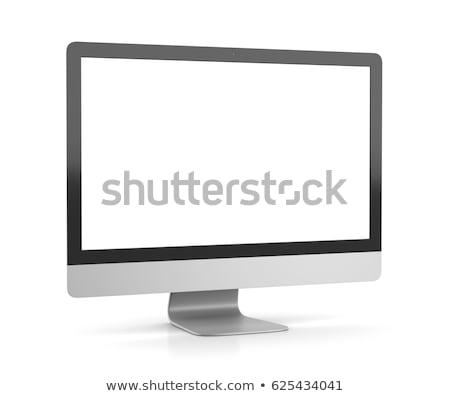 Monitor komputerowy komputer osobisty monitor biały 3d ilustracji front Zdjęcia stock © make