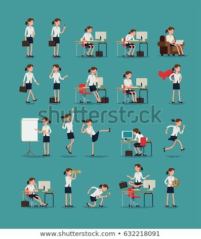 Business Woman Lady Character Vector. Working Female In Action. IT Startup Business Company. Effecti Stock photo © pikepicture
