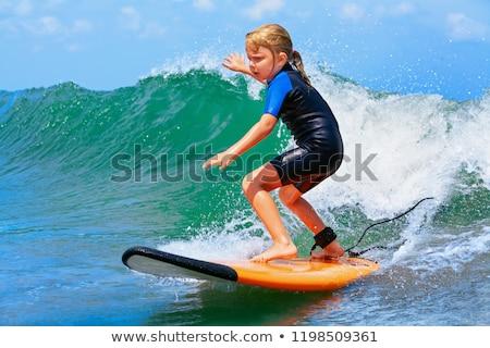 Kid ragazza surf illustrazione bambina onde Foto d'archivio © lenm