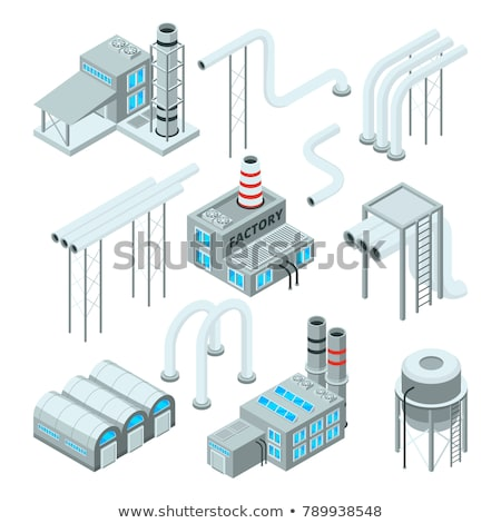 Factory with smoke pipes isometric 3D element stock photo © studioworkstock
