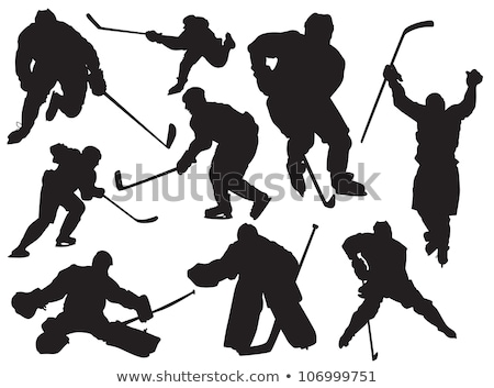 Sylwetka hokej gracz sportowe ilustracja człowiek Zdjęcia stock © Krisdog
