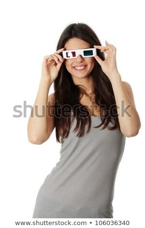 портрет счастливым довольно девушки 3d очки Сток-фото © deandrobot